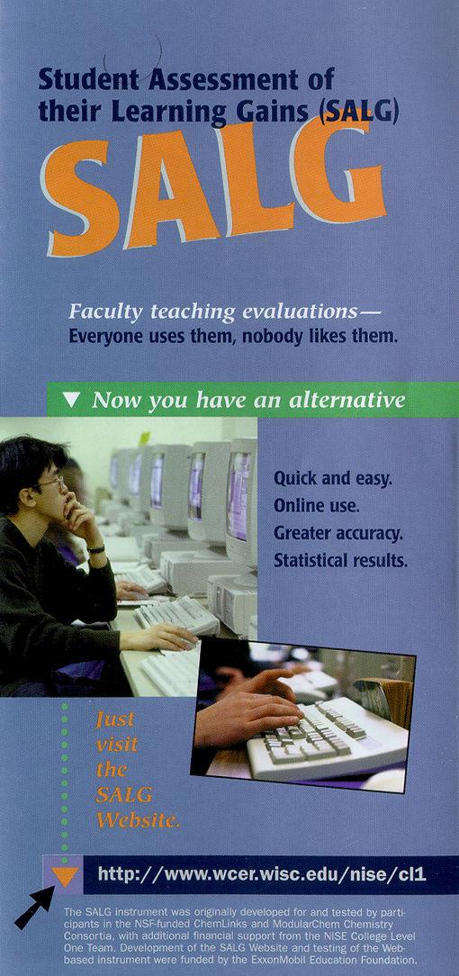 CL-1: Student Assessment of Learning Goals (SALG) Brochure